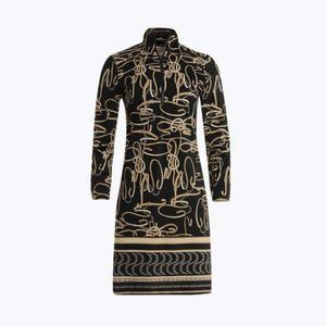 Elodie Dress in Black/Gold Belt Print